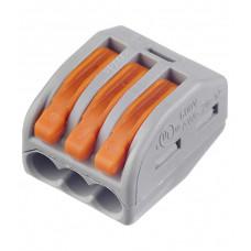 222-413, Клемма соединительная, 3 контакта, сечение провода 0.08-2.5 кв.мм