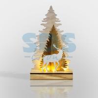 Фигурка из дерева - Елочка с оленем (18*7*29см) - NEON-NIGHT