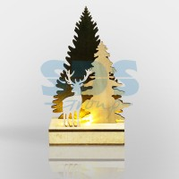 Фигурка из дерева - Елочка с оленем (12*6*21,5см) - NEON-NIGHT